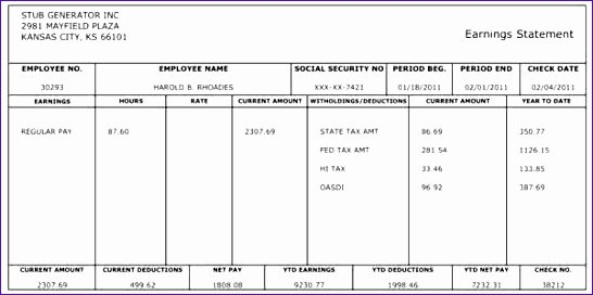 10 Payroll Check Template Excel Exceltemplates