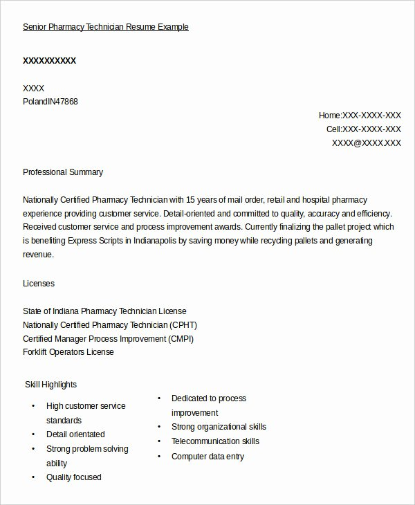 10 Pharmacy Technician Resume Templates Pdf Doc
