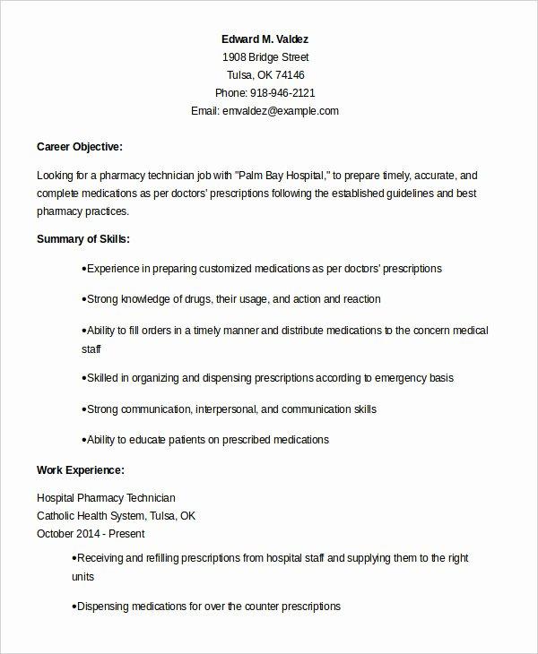 10 Pharmacy Technician Resume Templates Pdf Doc