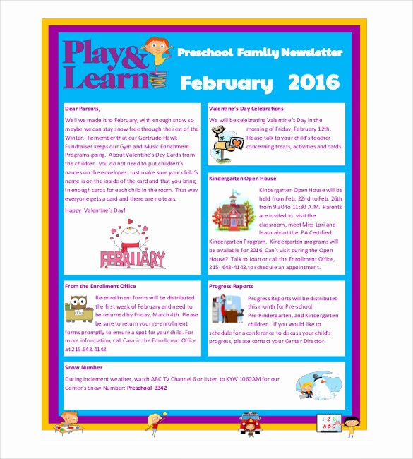 10 Preschool Newsletter Templates – Free Sample Example
