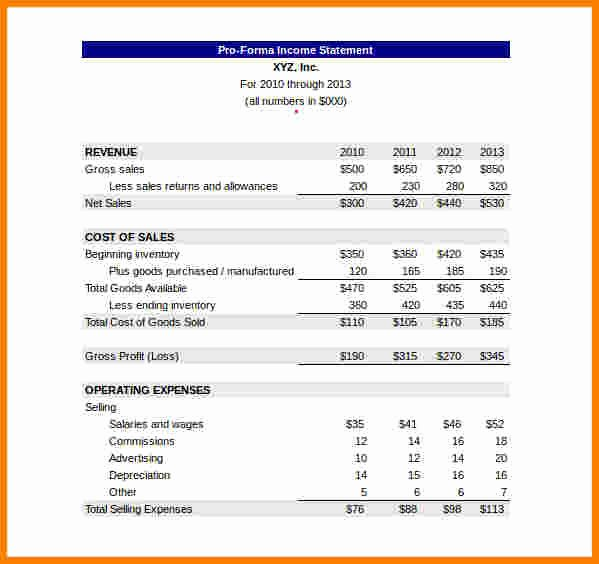 10 Pro forma Financial Statement Template