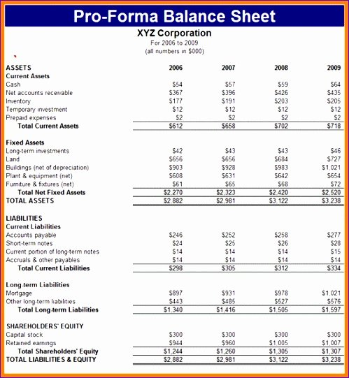 10 Pro forma Financial Statements Excel Template