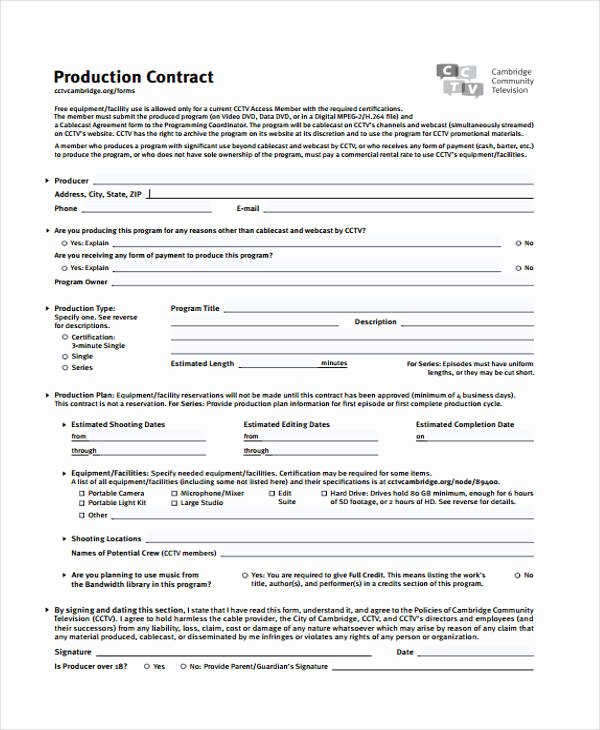 production contract templates