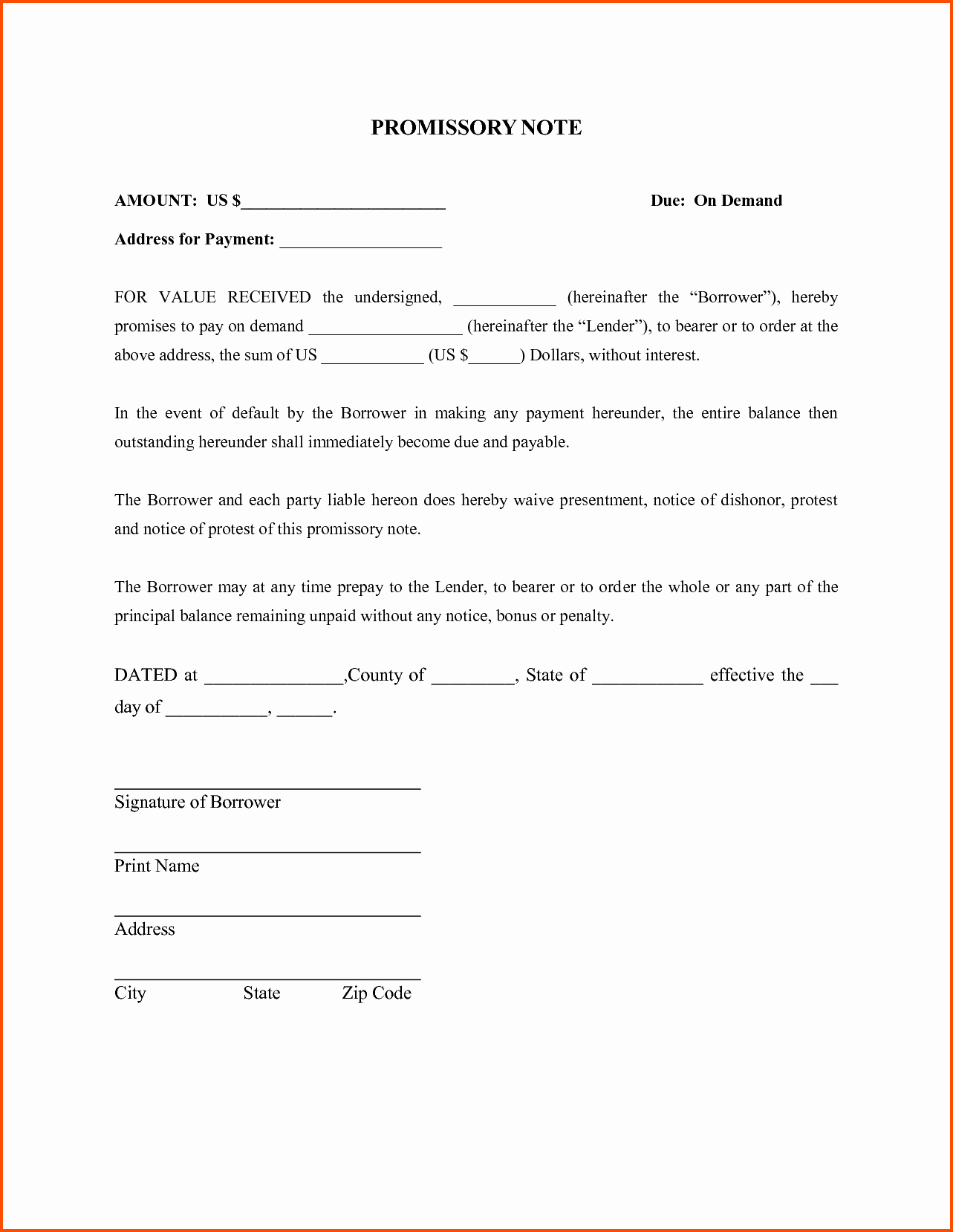 10 Promissory Note Template Survey Words Pdf Demand