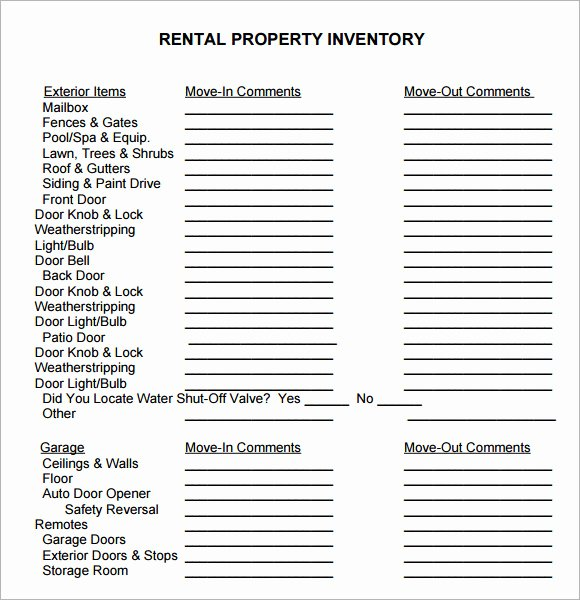 10 Property Inventory Templates