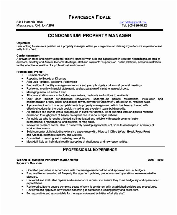 10 Property Manager Resume Templates Pdf Doc
