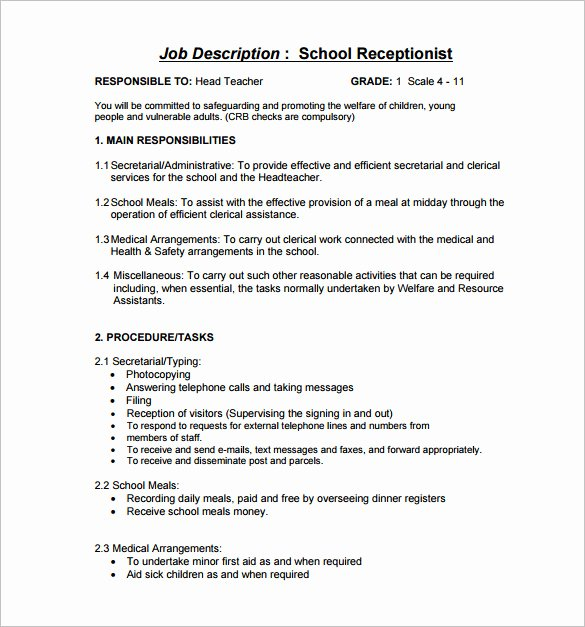 10 Receptionist Job Description Templates – Free Sample