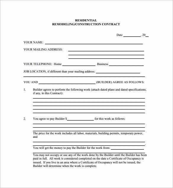 10 Remodeling Contract Templates to Download for Free