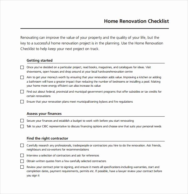 10 Renovation Checklist Templates to Download