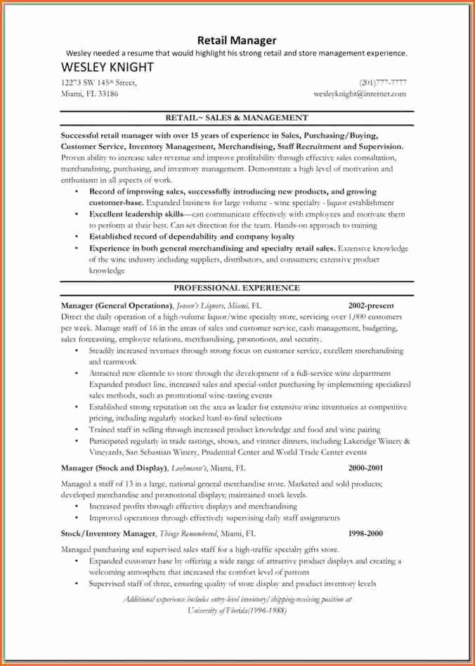 10 Retail Store Manager Resume Bud Template Letter