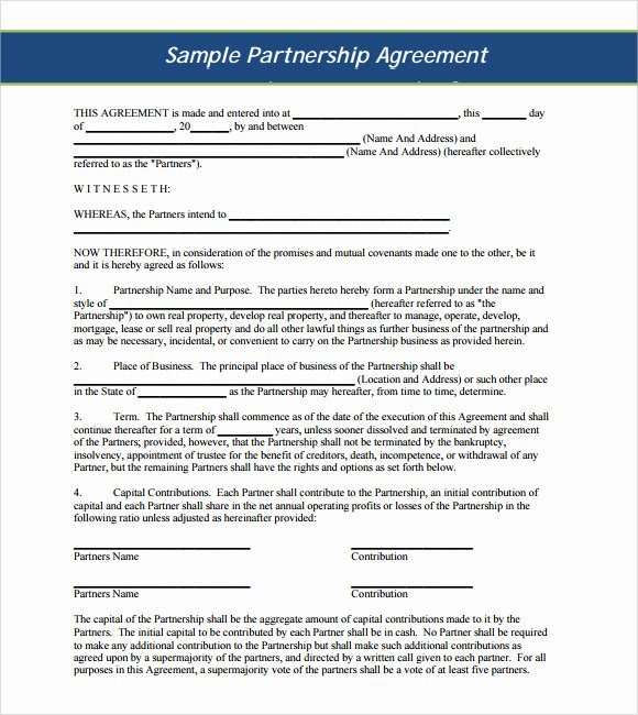 10 Sample Business Partnership Agreements