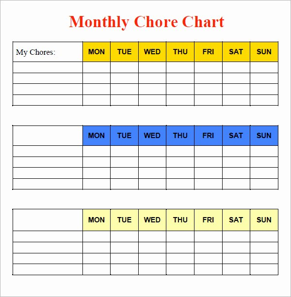 10 Sample Chore Chart Templates