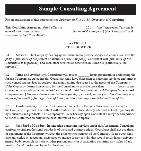 10 Sample Consulting Agreements