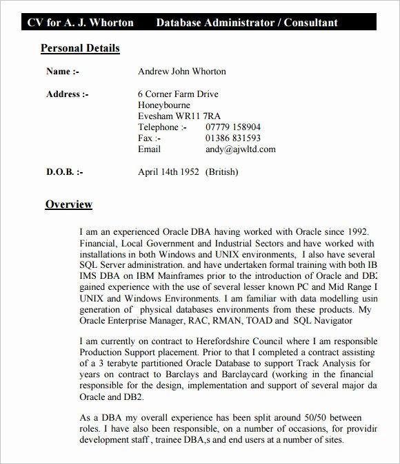 10 Sample Database Administrator Resume