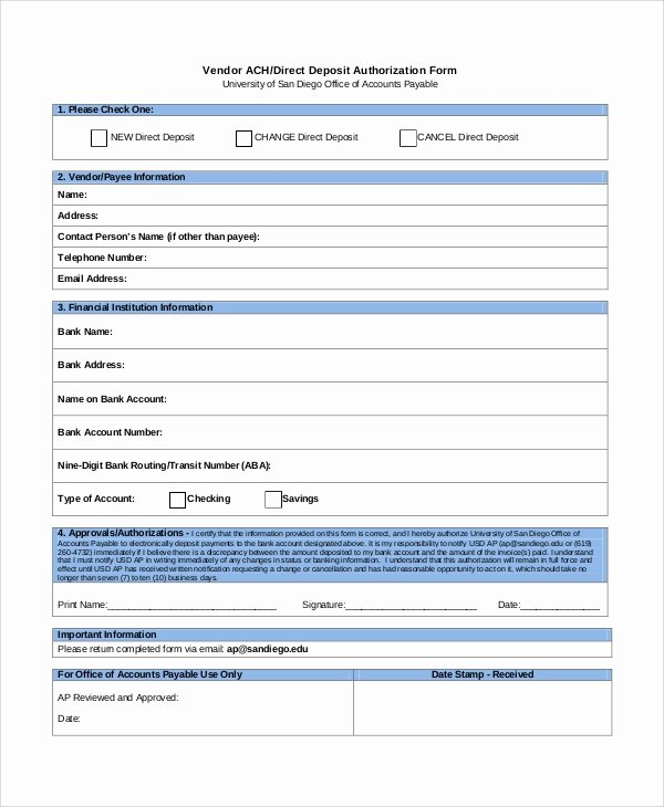 10 Sample Direct Deposit Authorization forms