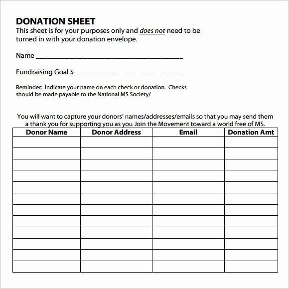 10 Sample Donation Sheets