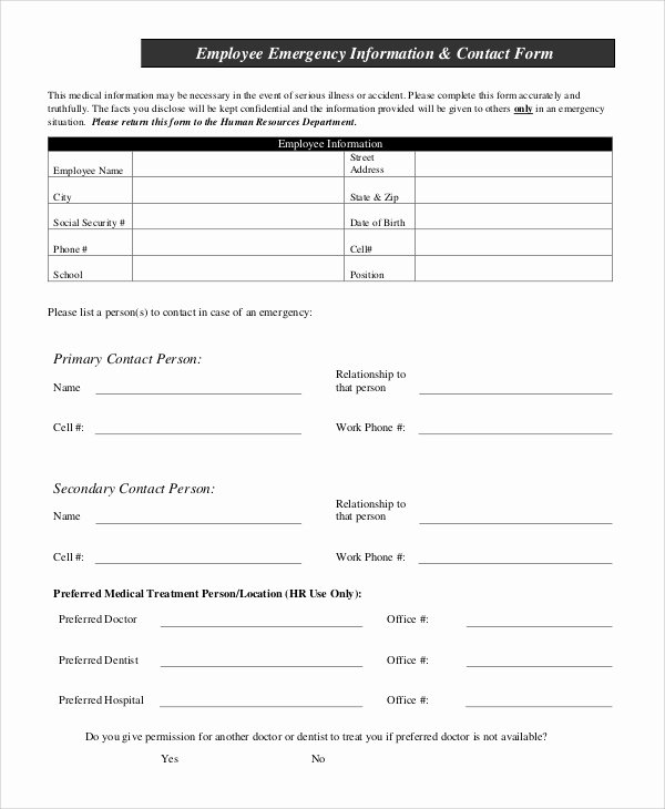 10 Sample Employee Information forms