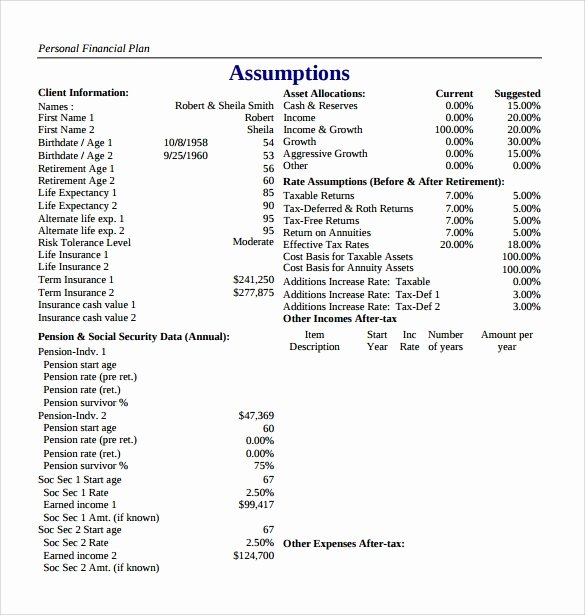 10 Sample Financial Plans