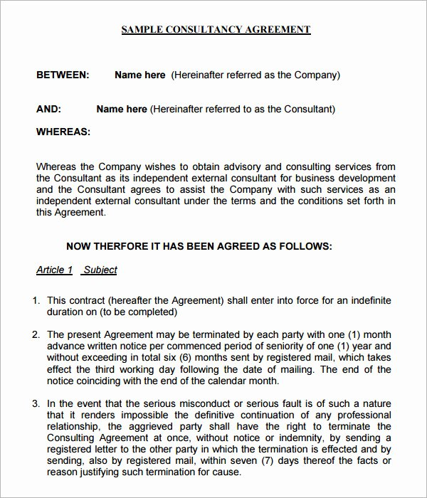 10 Sample Free Consulting Agreement Templates