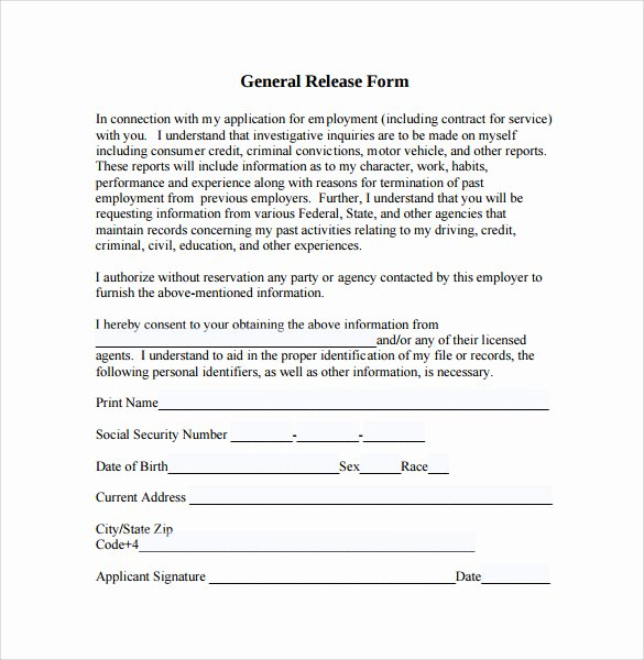 10 Sample General Release forms to Download