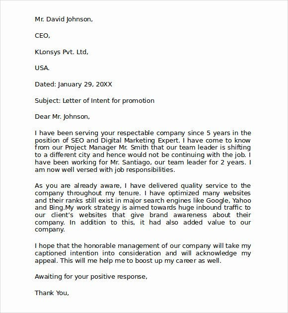 10 Sample Letter Of Intent for Promotion Templates – Pdf
