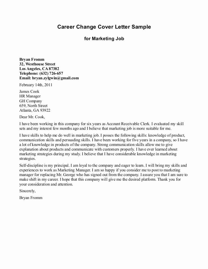 10 Sample Of Career Change Cover Letter