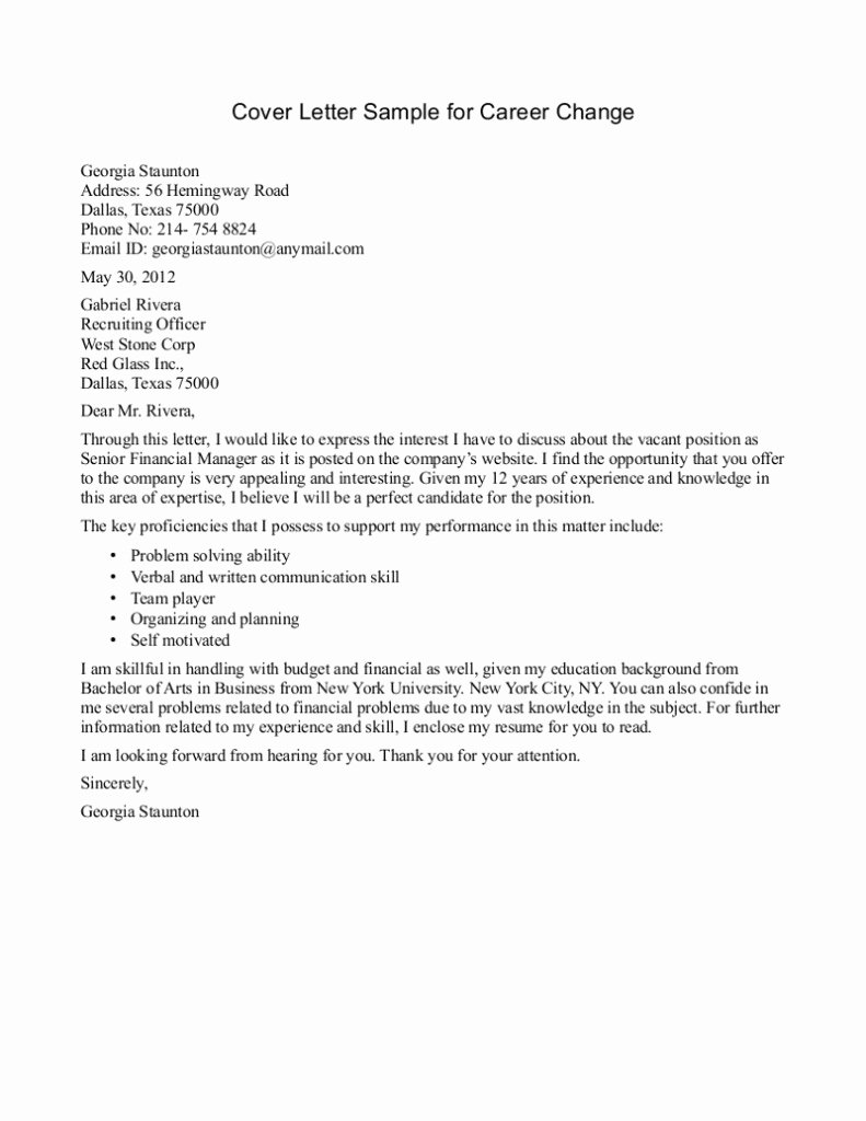10 Sample Of Career Change Cover Letter