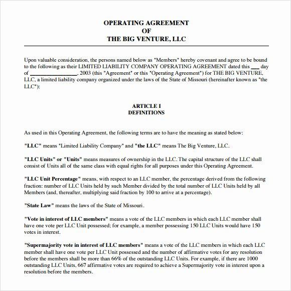 10 Sample Operating Agreements – Pdf Word