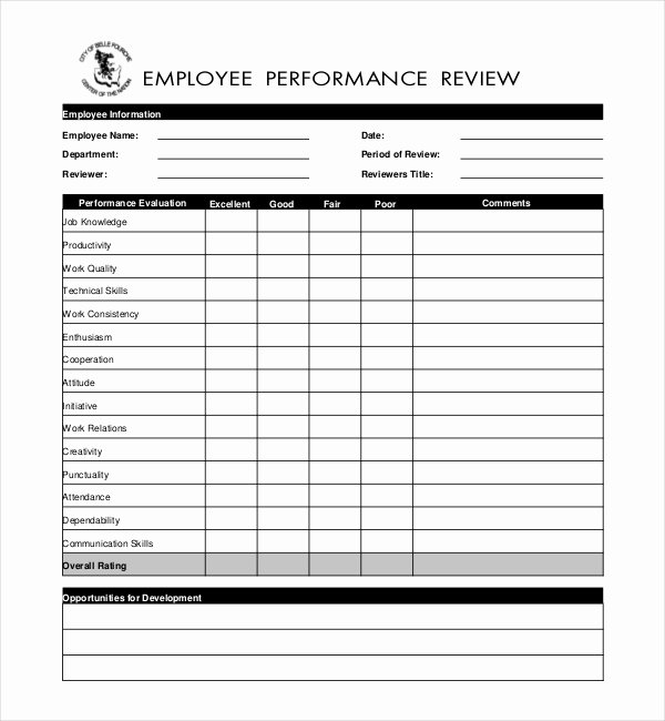 10 Sample Performance Evaluation forms