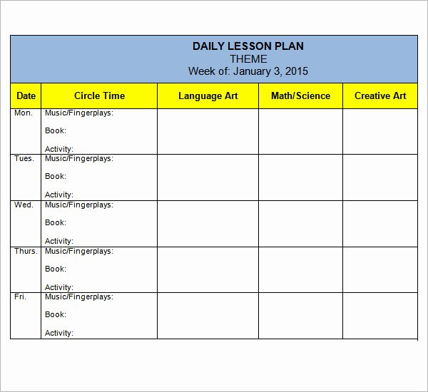 10 Sample Preschool Lesson Plan Templates