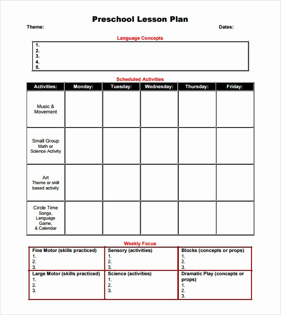 10 Sample Preschool Lesson Plans