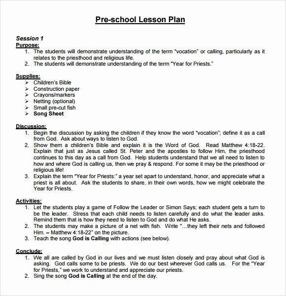 10 Sample Preschool Lesson Plans