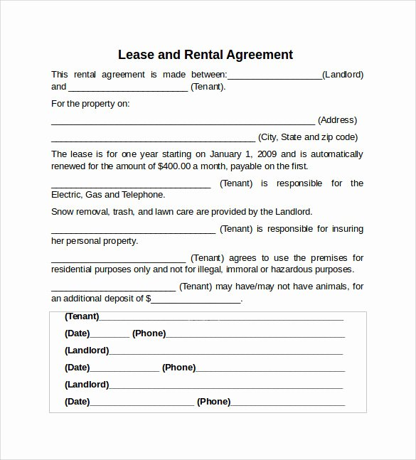 10 Sample Rental Lease Agreement Templates