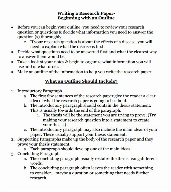 10 Sample Research Paper Outline Templates to Download