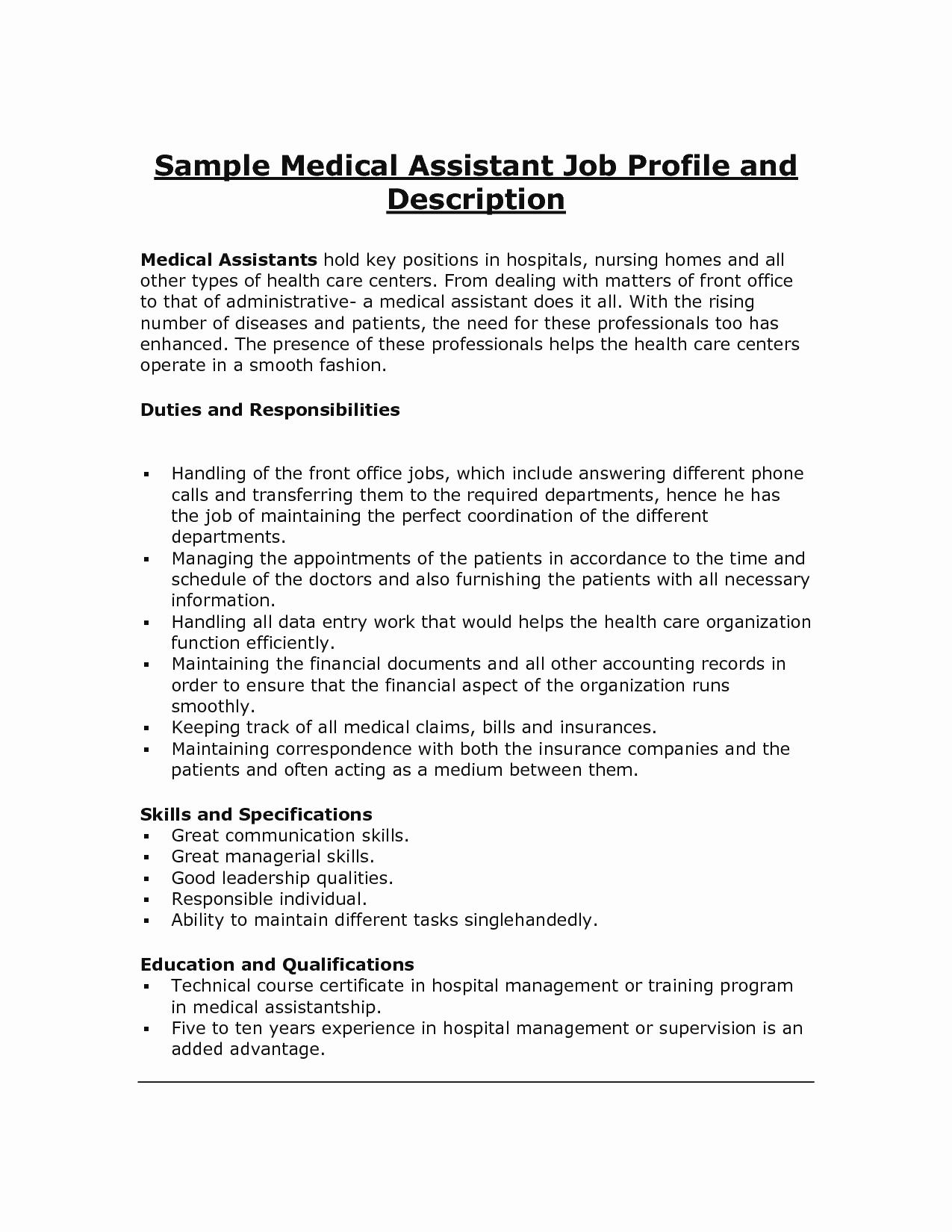10 Sample Resume for Medical assistant Job Description