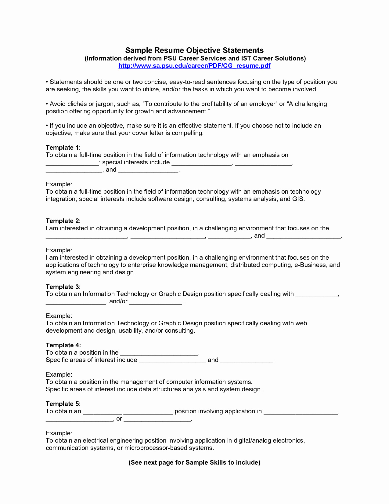10 Sample Resume Objective Statements