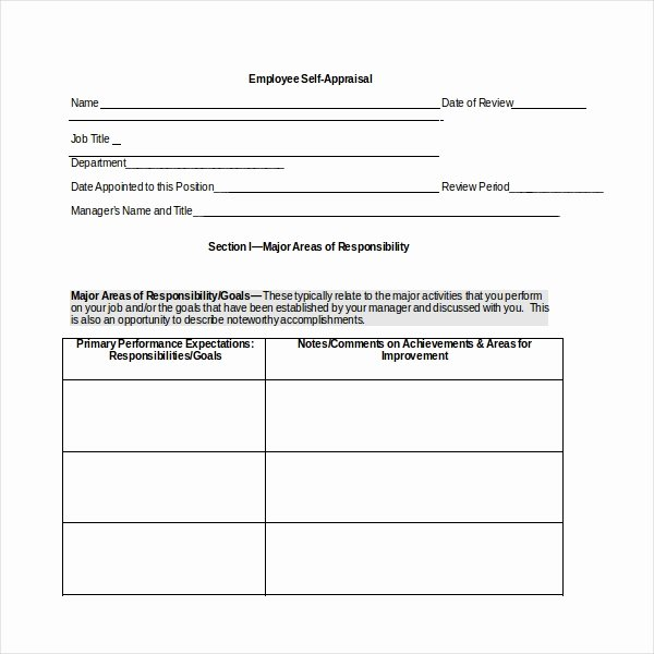 10 Sample Self assessment forms