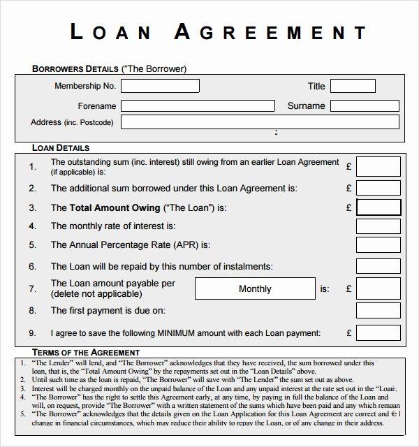 10 Sample Standard Loan Agreement Templates