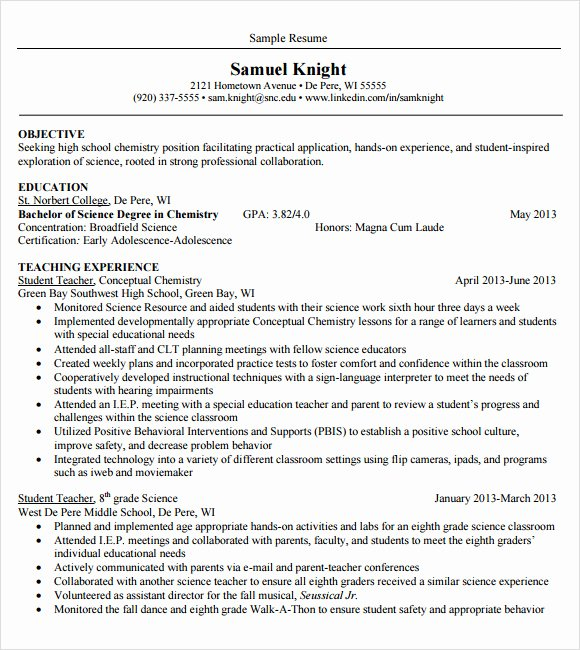 10 Sample Teacher Resume Templates to Download