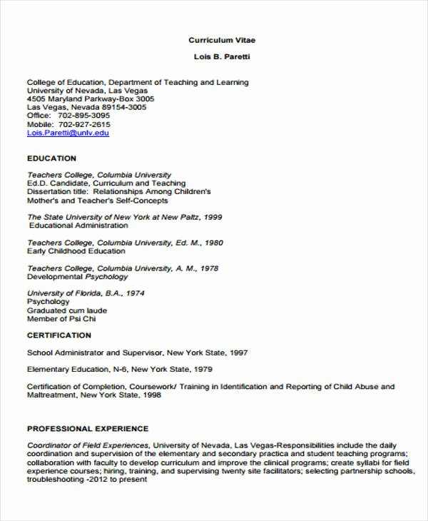 10 Sample Teaching Curriculum Vitae Templates Pdf Doc