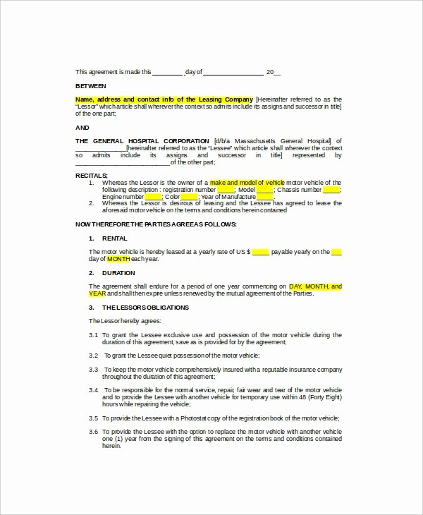 10 Sample Vehicle Lease Templates Pages Docs