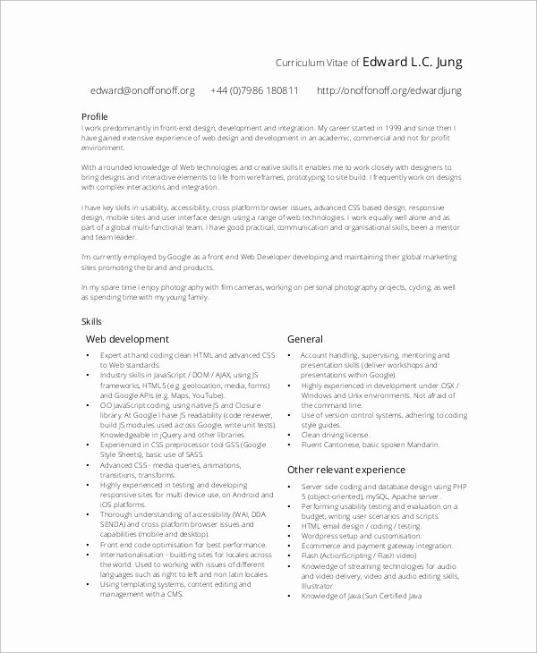 10 Sample Web Developer Resumes