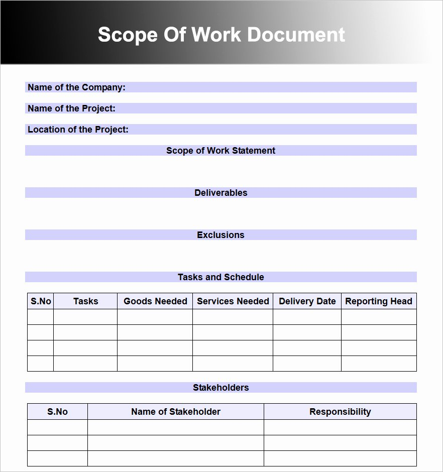 10 Scope Work Templates Free Word Pdf Excel Doc formats