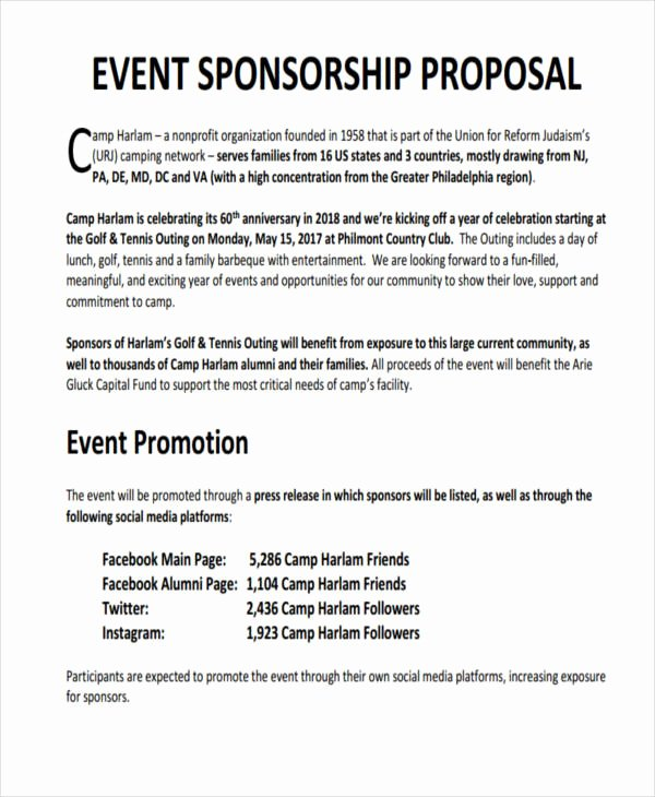 Sports Sponsorship Proposal Template | Latter Example Template