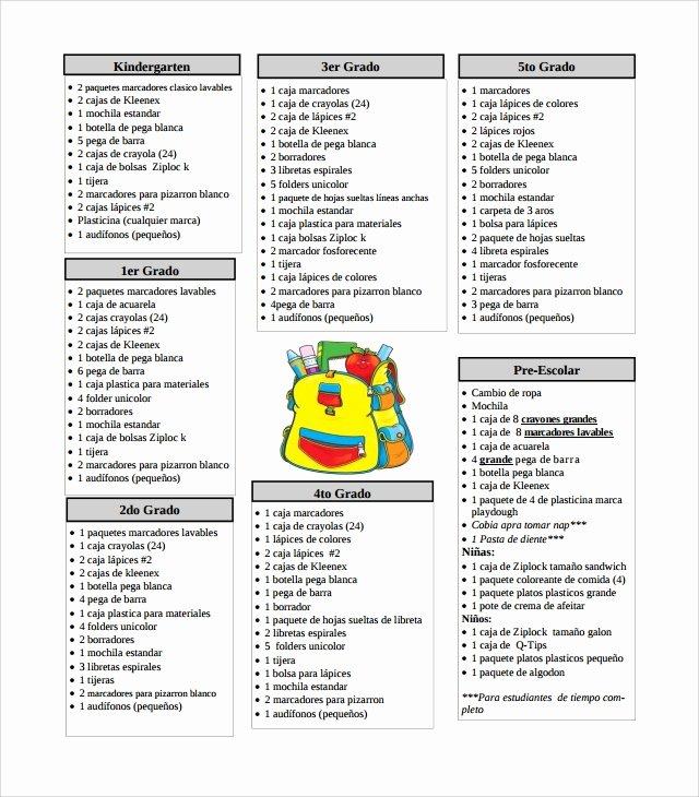 10 Supply List Templates