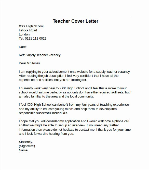 10 Teacher Cover Letter Examples Download for Free