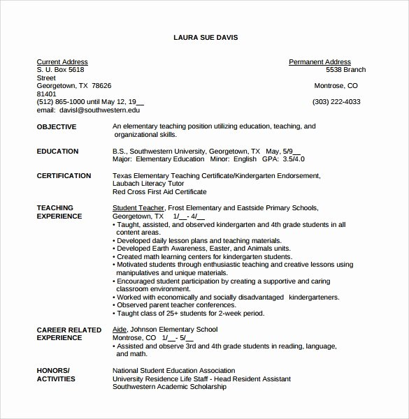 10 Teacher Resume Templates – Samples Examples & format