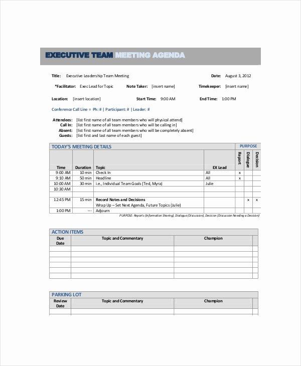 10 Team Meeting Agenda Templates – Free Sample Example