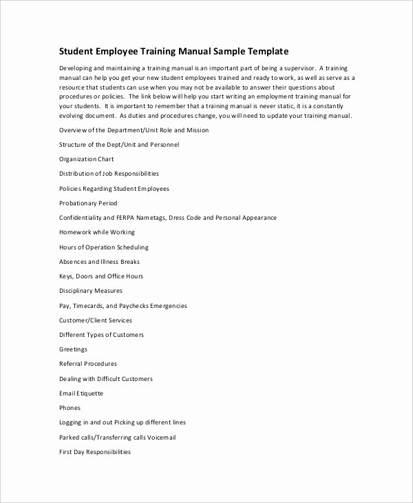 10 Training Manual Template Free Sample Example