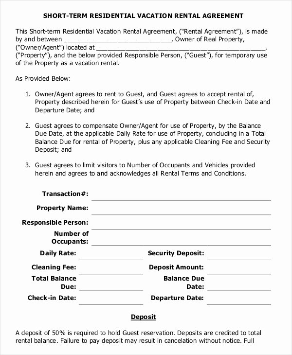 10 Vacation Rental Agreement – Free Sample Example